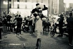pandaman celebrates soccer win (claudia 222) Tags: paris semifinal soccer summicron 90mm night panda labastille streetphotography