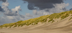 with the wind........... (Wöwwesch) Tags: beach dunes sea wind sunny interesting walk alone coast northsea structures lines clouds thinking reflecting gone
