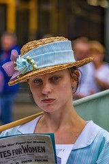 Not a smiling moment. (douglasjarvis995) Tags: 100mm k3 pentax museum tramways crick costume suffragette woman portrait