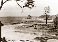 "Xmas 1947 - ""NOBBY'S, PT. MACQUARIE"", New South Wales, Australia (tourist photo card, circa 1946) (aussiejeff) Tags: newsouthwales australia jeffc historic aussiejeff portmacquarie nsw vintage nobby old sepia restore postcard travel"