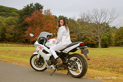 Jen and Her Bike at The Quabbin II (Peter Camyre) Tags: peter camyre photography kawasaki motorcycle bike girl female model friend people portrait quabbin reservoir grass trees photoshoot canon 5d mkiii fall fashion boots jeans jacket biker