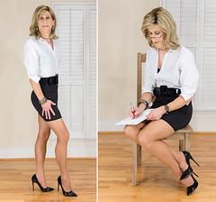 IMG_6098+5991_f: Secretarial question (AlexandraCollins) Tags: crossdresser crossdress crossdressing heels legs pantyhose stockings secretary