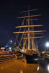 STS Lord Nelson - dry dock filling up (Kirkleyjohn) Tags: stslordnelson squarerig tallship lowestoft drydock evening night nightphotography ship
