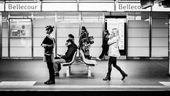 Keep looking ahead (Lasorigin) Tags: architecture banc bâtiment chaise design fenêtre gare noirblanc street sujet urbanpicture blackwhite bench steel chair people headset laptop shoes jacket windows chaussures veste bag sac ordinateur pc ecouteurs lyon urban rail station bellecour france advertising publicité blackandwhite