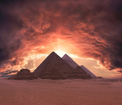 Pyramids of Giza (*Twas Brillig*) Tags: cairo egypt architecture surreal manipulation travel sunset clouds desert pyramidsofgiza africa nature