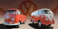 A Couple of Oranges - 1960s VW Panel and Pickup (Brad Harding Photography) Tags: vw volksweston volkswagenbus volkswagen doubledoorpanelbus singlecabpickup 1960 60 1963 63 germanmade germany classic vintage antique orange carshow reflection pickup truck weston missouri youneedtopublishthese