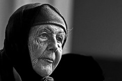 Old and beautiful (Wilamoyo) Tags: peopleportrait woman female aged older wrinkles character mature black white mono monochrome portrait face close features