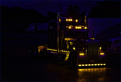 As Long As You Can See Me (raymondclarkeimages) Tags: raymondclarkeimages rci flickr google 8one8studios usa smugmug night truck lights coloredborder 70200mm bigtruck kenworth kw canon 6d fullframe bobtail tractor trucking outdoor process semi bigrig
