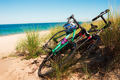Beach Bikes (JimmyJGreen) Tags: beach bike marthasvineyard massachusetts cape island ocean channel sand brush grass quiet azure bicycle cycling weekend relax swimming sky