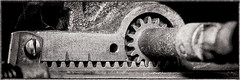Geared up -[ HSS ]- (Carbon Arc) Tags: sliderssunday rackandpinion rack pinion gear cog drive set rotational linear photoshop nikcollection silverefexpro monochrome