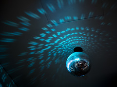 Cyan Discoball (thecrapone) Tags: disco light ball sphere round reflection reflect blue neon dark museum