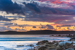 Sunrise Seascape (Merrillie) Tags: daybreak sunrise nature dawn uminabeach centralcoast morning sea landscape newsouthwales rocks earlymorning nsw clouds beach ocean water uminapoint waterscape coastal cloudy sky seascape australia coast outdoors waves