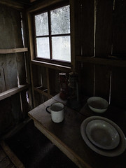 My Windy Place (Steve Taylor (Photography)) Tags: gaps cup plate bowl lantern dusty dirty table cabin hut architecture window newzealand nz southisland canterbury christchurch