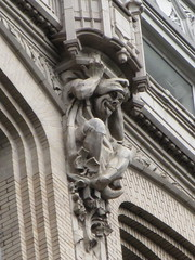 Gargoyles Across from Madison Square Park NYC 1436 (Brechtbug) Tags: gargoyles gothic building across from madison square park 17 east 26th street between 5th avenues near broadway flatiron district midtown manhattan 09222018 nyc shadow cityscape architecture new york city buildings 2016 shadows american labor seven 7 deadly sins dragons shark dolphins women men classical gnome ceramic tile golem monster gollum halloween