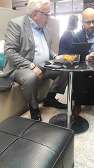 Business Daddy 02 (TBTAOTW2011) Tags: businessman business man daddy belly mature old dad glasses black leather dress shoe shoes hidden candid feet socks sitting white hair