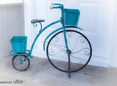Vintage Blue (maureen.elliott) Tags: vintage bicycle antique blue wheels stilllife bluemonday highkey object doorway