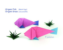origami fish (polelena24) Tags: origami fish grass square onesheet