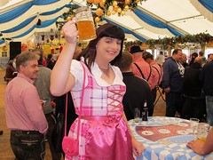 Cheers! (Paula Satijn) Tags: sexy hot girl smile fun joy happy dress skirt dirndl oktoberfest party satin silk shiny silky pink girly feminine tgirl tranny sweet cute beer cheers apron joyous gown costume