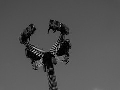 Night Ride (Maddy B Clark) Tags: goosefair fair nottingham nottinghamshire notts funfair monochrome bw ride