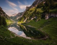 Morning glory at Fälensee, Appenzell (michaelreubi) Tags: alpinelake alpstein alps alpine fälensee lakefälen bollenwees appenzell appenzellerland reflection longexposure morning morningglory ostschweiz schweiz switzerland