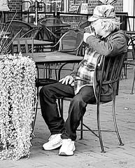 Vote! (creepingvinesimages) Tags: hmm monochrome blackandwhite bw street mall elderly man people vote outdoors samsung galaxy s9 pse topaz