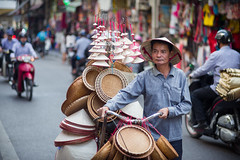 Conical Hat Vendor (phil.w) Tags: pentax limited k1 vietnam streetphotography portrait vendor conical hat street hanoi day bicycle 77mm fa77 smcpfa77mmf18
