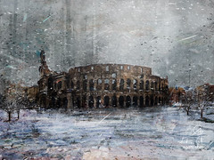 Colesseo Neve (http://www.agatti.com) Tags: italy italian italia roma rome lazio roman imperium romanum romanempire ruin ruins remnants site old place ancient historical archaeology architecture building monument amphitheater coliseum colosseum colosseo construction landmark landscape scape view panorma scene scenery vista wonderland sky snow cold white winter city urban outdoor digital painting texture layers impressionism impression surrealism surreal realism splatter brush stroke paint