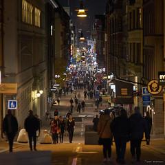 Drottninggatan (peredman) Tags: street people citystreet citylights city stockholm sweden night fall autopromuragekkor135mmf18 135mm promuragekkor