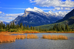 Vermilion Lakes and Mt. Rundle (1 of 2) (louelke - on and off) Tags: vermilionlakes mt rundle banff alberta canada autumn colorful mountain lake clouds colors fall