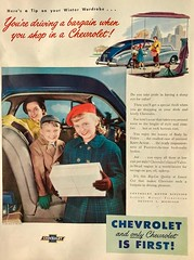 She's Driving a Bargain (saltycotton) Tags: automobile cars chevrolet family mother children shopping betterhomesgardens vintage magazine advertisement ad 1948 1940s