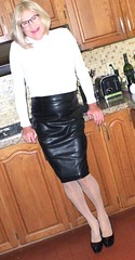 Black leather skirt - 2 (donnacd) Tags: sissy tgirl tgurl slut dressing crossdress crossdresser cd travesti transgenre xdresser crossdressing feminization tranny tv ts feminized jumpsuit domina blouse satin lingerie touchy feely he she look 易装癖 シー
