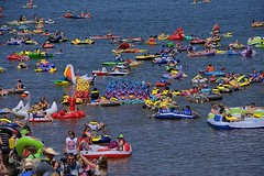 Floaters (Scott 97006) Tags: river water people float event colorful