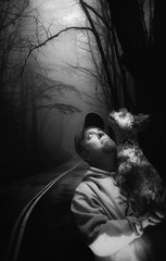October Nights (Farmernudie) Tags: capone october night dark pets dog terrier silky halloween cold light shadows road woods up hoodie mystery curiosity wonder animals darkness