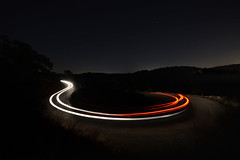 Follow The path (FX-1988) Tags: headlight israel carmel red front back car road curve path night landscape dark mount taillight