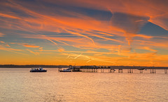 Contrails, Boats And Trains (nicklucas2) Tags: hythe southampton hampshire river test water boat ferry cloud contrail dawn pier