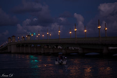 Blue hour by the Bridge of Lions (Irina1010) Tags: bluehour bridge river boat water reflections people sky blue clouds beautiful dusk canon 2018 saintaugustine bridgeoflions outstandingromanianphotographers coth coth5