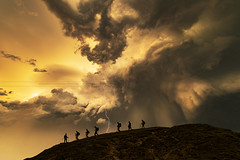 Hikers on the Storm (John Finney) Tags: weather extremeweather sunset clouds lightning hikers storm silhouette