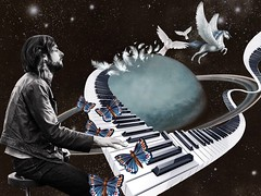 """Learning to fly - Richard Wright"" (Marooned.Collage) Tags: photoshop psychedelic pinkfloyd artwork art surrealism surreal space sky stars mixedmedia collage collageart collageartist collageartworks collagesociety contemporaryart visual visualart digitalart"