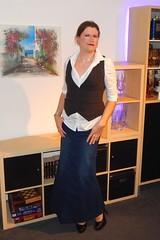 Super long denim skirt (Rikky_Satin) Tags: white blouse vest long maxi skirt highheels pumps transvestite crossdresser tgirl tgurl