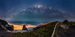Milky way arch over Muriwai Gannet Colony (tomoyaosa) Tags: milkyway astrophotography astroscape auckland muriwai landscape longexposure nikon newzealand nightscape astro seascape samyang24mm d750 panorama nz