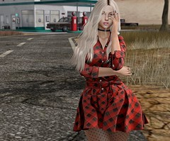 Never Said Goodbye (Popcorn Adalynn Bloom) Tags: vinyl foxcity rama hair mesh fashion girl female brown eyes blond kunst dress fatpack giveaway su suicidalunborn collar choker uber event