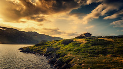 lonely cabin (bjorns_photography) Tags: landscape mountain nature cabin lonely water rock clouds view photography