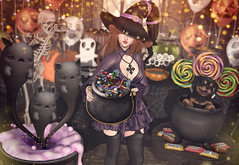 Trick or Treat (Gabriella Marshdevil ~ Trying to catch up!) Tags: sl secondlife cute kawaii witch ayashi gift halloween doll goth arcade epiphany mishmish lostjunction semotion catwa