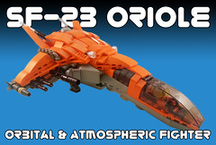 SF-23 Oriole - Orbital and Atmospheric Fighter (Jeffykins) Tags: lego starfighter spaceship fighter orange afol