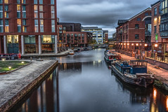 Leeds canal at dusk (EricMakPhotography) Tags: canal dusk water longexposure city cityscape