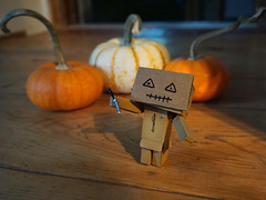 304/365 Be Afraid, Be Very Afraid (Helen Orozco) Tags: 304365 danbo mask halloween scary 2018365 toy pumpkins shadow
