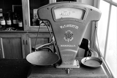 Boughter the wife some new scales she wanted...   but she is not happy (WorcesterBarry) Tags: blackwhite bnw blackandwhite blackcountrymuseum places photographers candid scales old vintage apprecaited lovebw kindness monochrome adventure anger