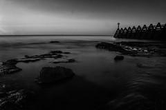 Breakwater (selvagedavid38) Tags: essex dawn sunrise sea walton naze breakwater beach shore long exposure neutral density sand smooth calm black white