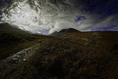 looking towards Carrauntoohil, Ireland's highest Mountain (To see a World in a Grain of Sand And a Heaven in ) Tags: carrauntoohil hagsglen killarney countykerry ireland landscapephotography nikond810 samyang12mmf28 fisheyelens touristdestination climbing rural breathtakinglandscapes