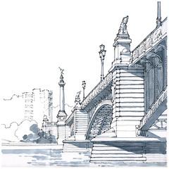 Liège, le pont de Fragnée (gerard michel) Tags: belgium liège pont sketch croquis